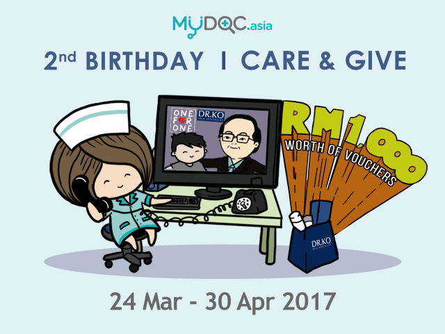 MYDOC.Asia's 2nd B'day Care & Give - FREE Dr Ko Vouchers Worth RM1,000 This April!