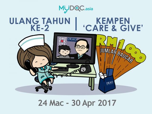 MYDOC.asia Care & Give - PERCUMA Baucar Dr Ko bernilai RM1,000 sempena Ulang Tahun Ke-2 pada April ini!